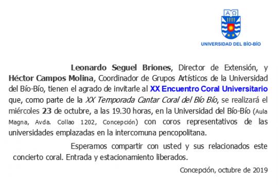 XX Encuentro Coral Universitario En La UBB